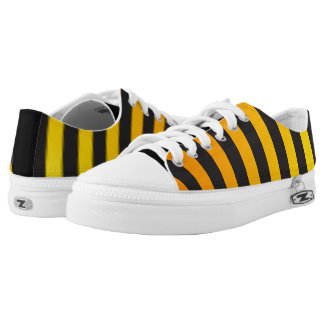 Cool Modern Black and Yellow Orange Striped Low Tops