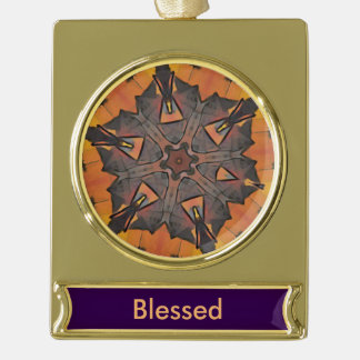 Cool Modern Blessed Mandala Abstract Gold Plated Banner Ornament