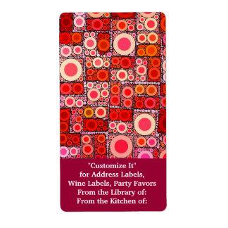 Cool Modern Circle Orange Red Mosaic Tile Shipping Label