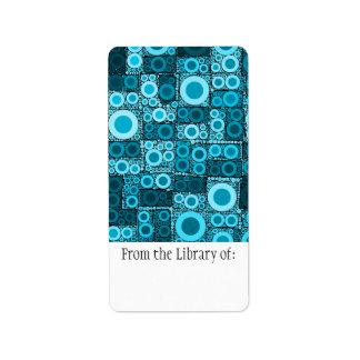 Cool Modern Circles Blue Teal Mosaic Tile Pattern Address Label