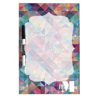 Cool modern colourful triangles geometric pattern dry erase board