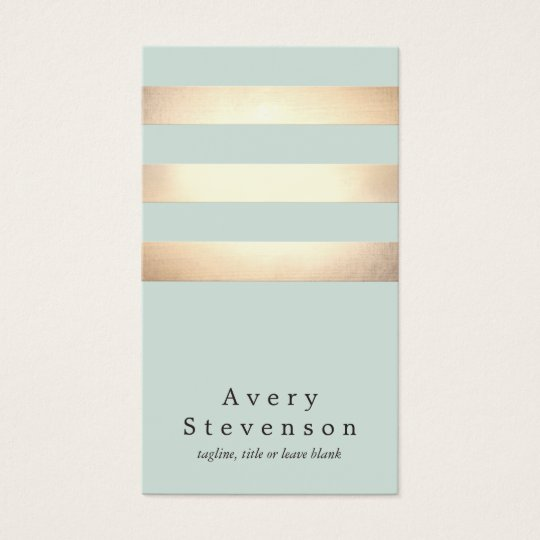 Cool Modern Faux Gold and Blue Stripes Business