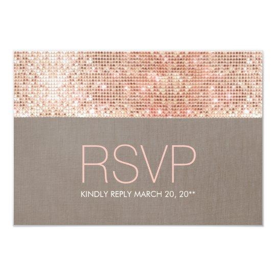 Cool Modern Faux Rose Gold Sequins RSVP Card