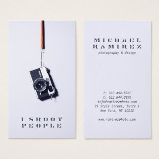Cool modern gray professional photographer camera business card