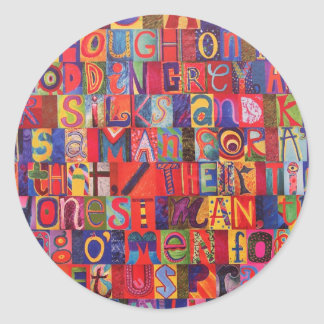Cool modern letter mosaic classic round sticker