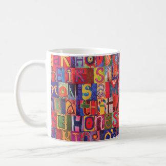 Cool modern letter mosaic mugs
