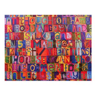 Cool modern letter mosaic postcard