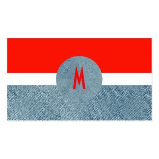 Cool Modern Monogram Unique Trendy Denim Jeans Pack Of Standard Business Cards
