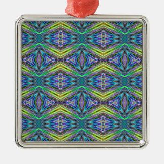 Cool Modern Multi colored Tribal Pattern Silver-Colored Square Decoration