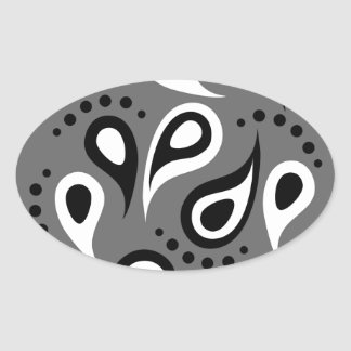 Cool Modern Paisley pattern effects Oval Stickers