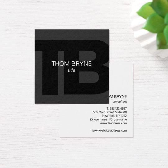 Cool Modern Professional Black 2 Letter Monogram Square