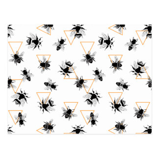 Cool Modern Queen Bees Pattern Postcard