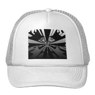 Cool modern rectangle art in black and silver cap