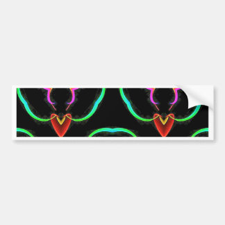 Cool Modern Red Teal Funky Pattern Bumper Sticker