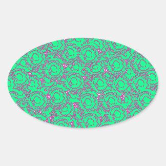 Cool modern swirls pink green SWIRLS06 pattern Oval Sticker