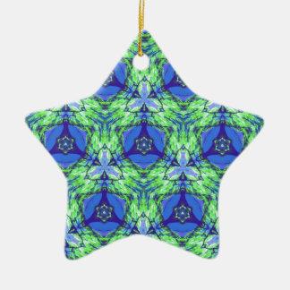Cool modern vibrant blue lime green pattern ceramic star decoration