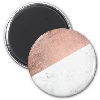 Cool modern white marble rose gold color block 6 cm round magnet