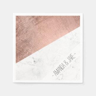 Cool modern white marble rose gold color block disposable serviette