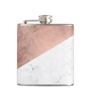 Cool modern white marble rose gold color block hip flask