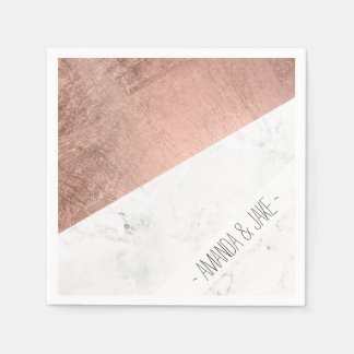 Cool modern white marble rose gold color block paper napkin