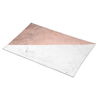 Cool modern white marble rose gold color block place mat