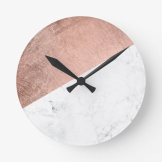 Cool modern white marble rose gold color block round clock