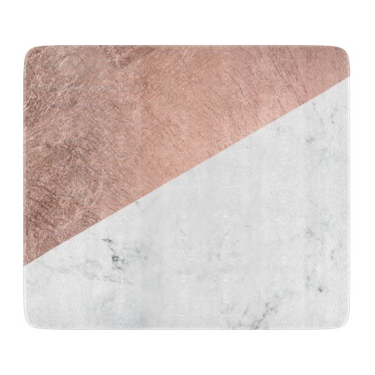 Cool modern white marble rose gold colour block cutting board zazzle - Marble chopping block ...