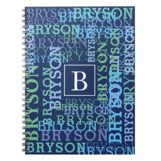 Cool Monogram Name Cloud Blue Spiral Notebook