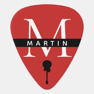 cool monogram red guitar pick