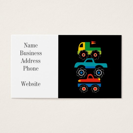 Cool Monster Trucks Blue Red Green Gifts for Boys Business Card