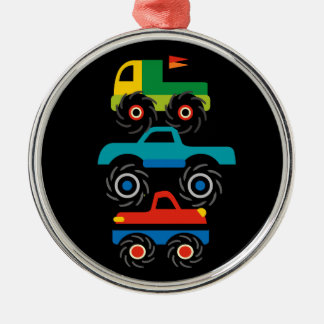 Cool Monster Trucks Blue Red Green Gifts for Boys Christmas Ornament