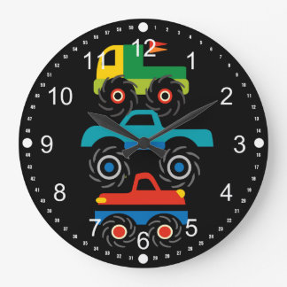 Cool Monster Trucks Blue Red Green Gifts for Boys Large Clock