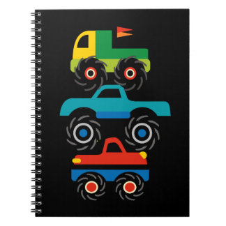 Cool Monster Trucks Blue Red Green Gifts for Boys Spiral Notebook