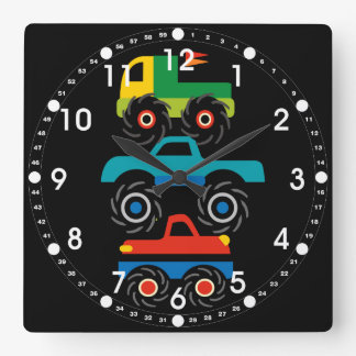 Cool Monster Trucks Blue Red Green Gifts for Boys Square Wall Clock