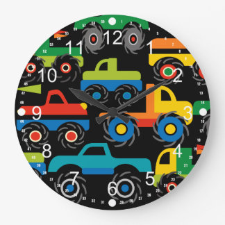 Cool Monsters Trucks Transportation Gifts for Boys Large Clock