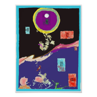 Cool Moon Abstract Expressionism Poster