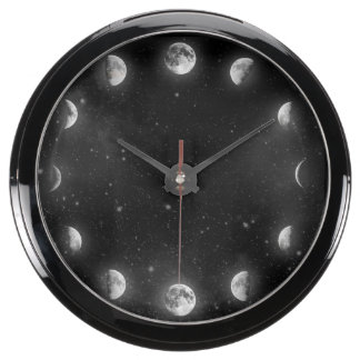 Cool Moon Phases Minimal Novelty Aqua Clock
