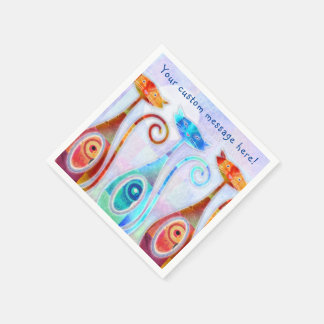 Cool Moonkats Custom Textured Collage Disposable Serviette