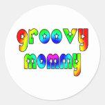 Cool Mothers Day & Hip Moms Birthdays Groovy Mummy Round Stickers