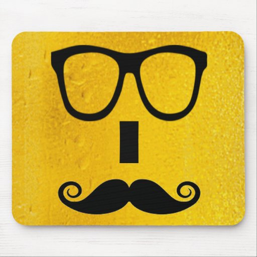 cool moustache on a beer effect image mousepads