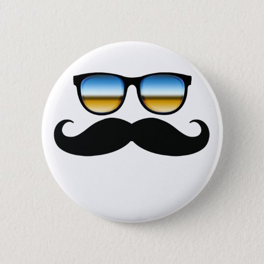Cool Moustache under Shades 6 Cm Round Badge