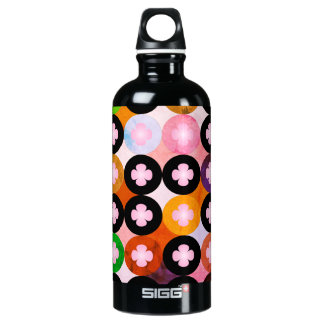 Cool Multi Colored Circles & Pink Clovers Water Bottle