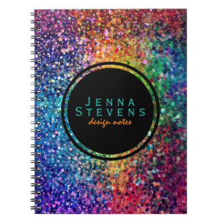 Cool Multicolor Retro Glitter & Sparkles Pattern 2 Notebook