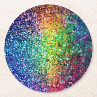 Cool Multicolor Retro Glitter & Sparkles Pattern 2 Round Paper Coaster
