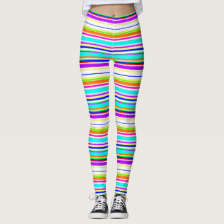 "Cool ""multicolor stripes"" pattern personalised leggings"
