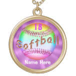 Cool Multicolored Personalised Softball Necklaces