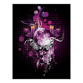 Cool Music Disco Ball and Speakers Poster