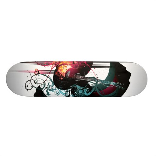 Cool Music Graphic with Guitar Skate Board Deck