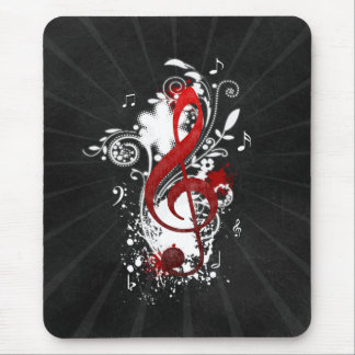 Cool Music notes dotted swirls flowers splatter Mouse Mat