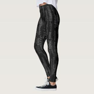 cool music pattern black leggings